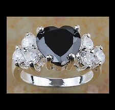 NEW - STUNNING HEART SHAPED BLACK ONYX WHITE GOLD FILLED RING SIZE 8