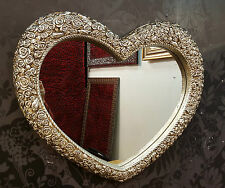 Heart Wall Mirror Ornate Champagne Silver Frame French Engrved Rose 75x63cm New