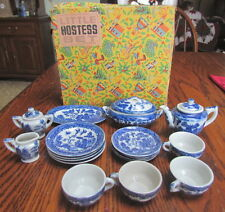 Vintage Blue Willow child tea set 20 piece Made in Japan Little Hostess box
