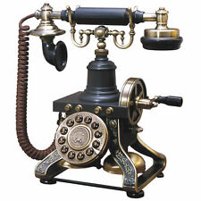 Black Vintage Telephone Retro Rotary Plate Old Phone Cord Antique Office Decor