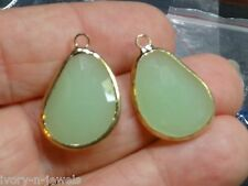 Lovely 1 Inch INTERCHANGEABLE Gold Plated Bezel Set Mint Green Earring Charms