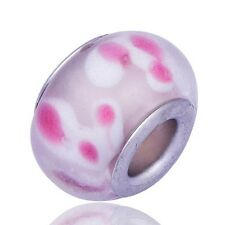5Pcs Silver Pink Crystal charms lot MURANO BEADS Fit European Bracelet