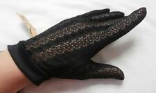 BNWT Vintage 1960's Black Lace Design Nylon Wrist Gloves Size 7, Medium   Unworn