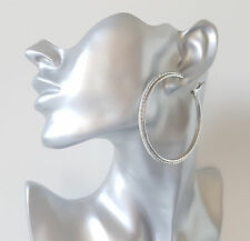 Gorgeous 6cm large silver tone & sparkly glitter edged hoop earrings