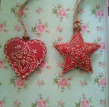 Christmas Heart & Star Red Nordic Metal Hanging Decorations Large  10 X 10cms