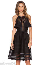 SELF-PORTRAIT Black Cropped-Overlay Dress Mesh Madison New BNWT UK 8 SOLD OUT!