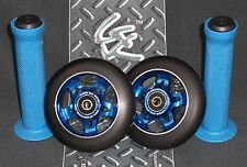Blue Pro Star Black Metal Core Scooter Wheels x2 + Grips + GK Grip Tape