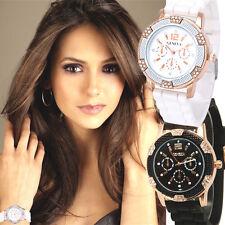 2pcs Lovers Faux Chronograph Waterproof Rhinestones Sport Luxury Women Watches
