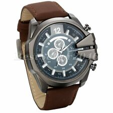 Fashion Oversize Face Big Mens Leather Band Sport Quartz Wrist Watch+Gift Bag