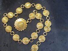 """Women's Vintage Stamped Silver Tone or Coin 33"""" Concho Belt Fiesta Southwestern"""