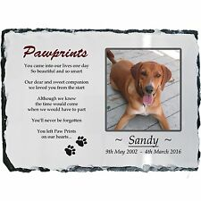 Pet Dog Photo Memorial Slate Plaque - Paw Prints + YOUR Picture- LARGE 19x29cm