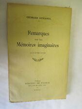 """Georges Duhamel """"Remarques sur les mémoires imaginaires"""" /Mercure de France 1933"""