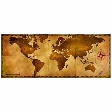 World Map Wall Art 'Old World Map' Aged Antique Style - Metal Travel Artwork - H