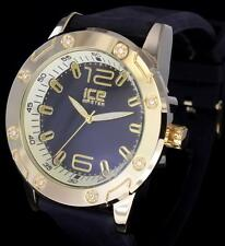Icy 1/8 Ct Rhinestone Gold Plated iCE Master Bling HipHip Rubber Band Watch