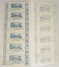INDIANA IRON WORKS CURRENCY SCRIP, 1856 UNCUT, SHEET OF 6,5 DOLLARS,50,25,10,5