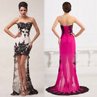 GK Stock Strapless Chiffon High-Low Ball Gown Formal Evening Prom Party Dresses