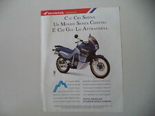 advertising Pubblicità 1991 MOTO HONDA XL 600 V TRANSALP RALLY TOURING