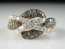 14K Rose Gold Diamond Ring Bypass Overlap Crossover Anniversary Jewelry Size 7