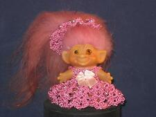 "2 1/2"" VTG C-64 DAM PINK HAIR W/BROWN TIPS,ORG.AMBER EYES DK PINK DRESS &HATU407"