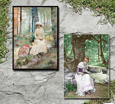 Girls reading books in woods 1881 1891 art photos CHOICES two 5x7s or request 8x