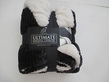 "Life Comfort- ULTIMATE  SHERPA THROW  OVERSIZED 60""x70"" Charcoal Gray - NWT"
