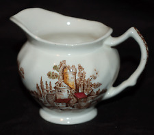 """One 6 OZ. Creamer / Pitcher Johnson Brothers """"The Old Mill""""  Brown Multi-Colored"""