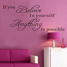 Inspirational Wall Sticker Believe Anything is Possible Decals DIY Home Decor UK