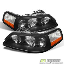 Black 05-11 Lincoln Town Car Headlights Headlamps set Pair Replacement 2005-2011