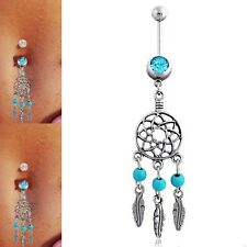 Rhinestone Turquoise Net Dangle Belly Dance Navel Ring Bar Barbell Body Piercing