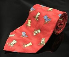 "Exquisite 58"" Tommy Bahama Beach chairs Red Neck Tie 100% silk tie."