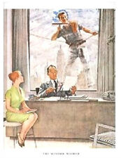 "Norman Rockwell skyscraper large 11"" x 15"" print: ""THE WINDOW WASHER""  mad men"