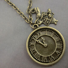 Alice in Wonderland Antique Gold Bronze Clock Watch with Rabbit Necklace Kitsch