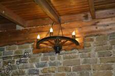 antique rustic vintage wagon wheel lamp wall mounted wooden handmade cup 3 light