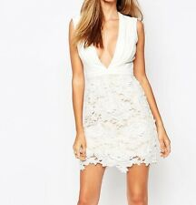Missguided Plunge Neck White Lace Mini Dress - UK 10