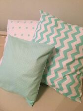 3 HANDMADE AQUA MINT GREEN STAR CHEVRON CUSHION COVERS nursery vintage modern