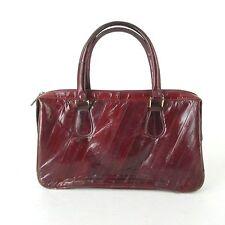 Vtg EEL Skin Shoulder Bag CLUTCH Women's Burgundy Cranberry Red