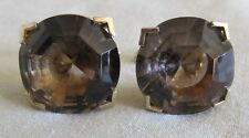 Men Vintage Lg FACETED BROWN CRYSTAL CUFFLINKS Jewelry H51
