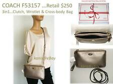 3in1** $250 NWT COACH Pebble Leather LYLA Clutch Wristlet Crossbody Shoulder Bag