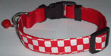 Checker COLLAR Cat Dog Small Medium Pet Cute Puppy Kitten Bell Mini Red Ska Cool