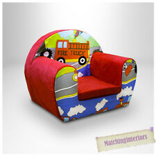 Cars Transport Red Childrens Kids Comfy Foam Chair Toddlers Armchair Seat Chair