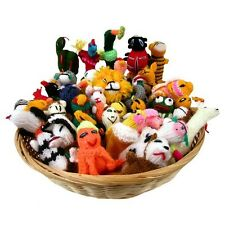 Assortment 25 Pcs Lot Sanyork Fairly Traded Finger Puppets Birds Animals Knit