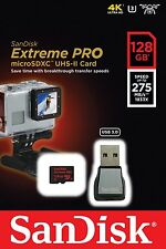 SanDisk Extreme Pro micro SD XC 128GB Class 10 UHS-II U3 275MB/s /w Card Reader