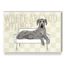 Blue Merle Great Dane Gifts Funny Refrigerator Magnets - Where are YOU Sitting