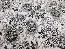 White with Black Hippy Flowers, Floral Cotton/Spandex Dress Fabric.
