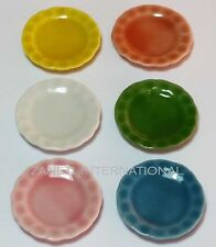 Set of 6 Dollhouse Miniature Mixed Ceramic Plates * Doll Mini Food 1-inch Dishes