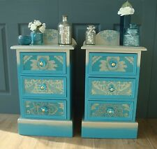Pair of Blue and Gold Decoupaged Bedside Cabinets / Drawers - Vintage Upcycled