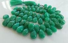"4"" strand deep green CHRYSOPRASE smooth gem stone pear briolette beads 6mm - 9mm"