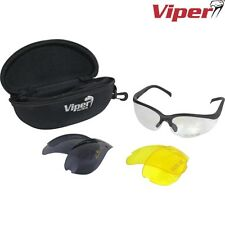VIPER TACTICAL MISSION SHOOTING GLASSES 3 LENSES PROTECTIVE AIRSOFT HUNTING