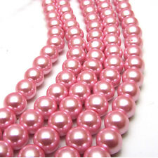 New 8MM 30pcs Charm Round  Beads Glass Spacer Pearls Pink Color
