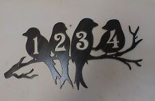 Perched Birds House Number Address Metal Sign, Metal Art ANY NUMBERS